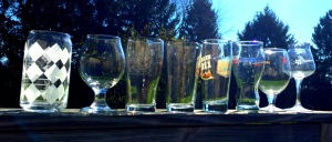 A variety of craft beer glasses for IPA, porter, stout, lager and pilsner