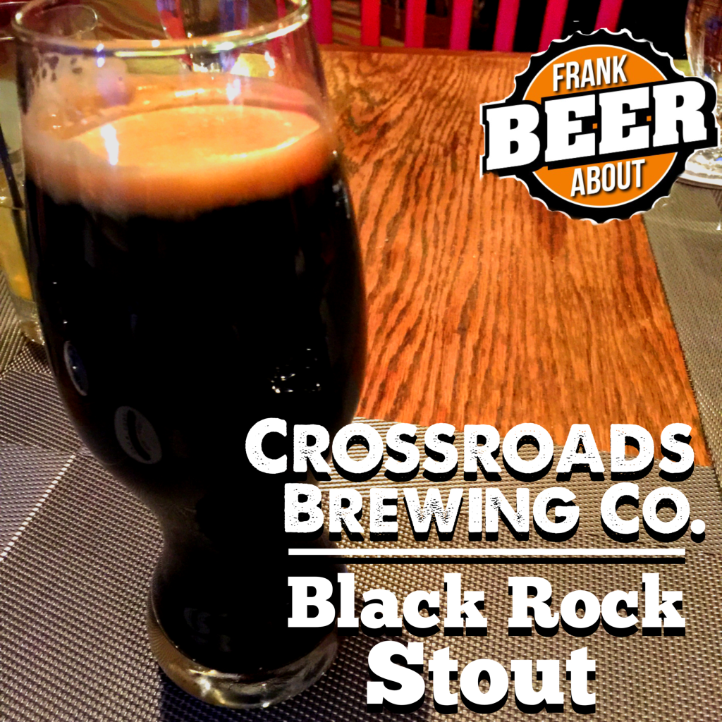 Craft beer glass of Black Rock Stout from Crossroads Brewing Company New York