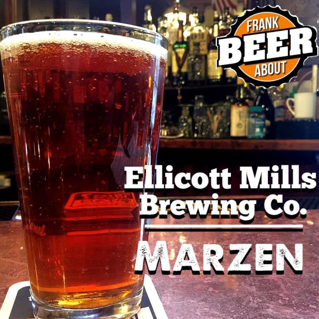 Pinto of Marzen craft beer at Ellicott Mills Brewing in Ellicott City Maryland