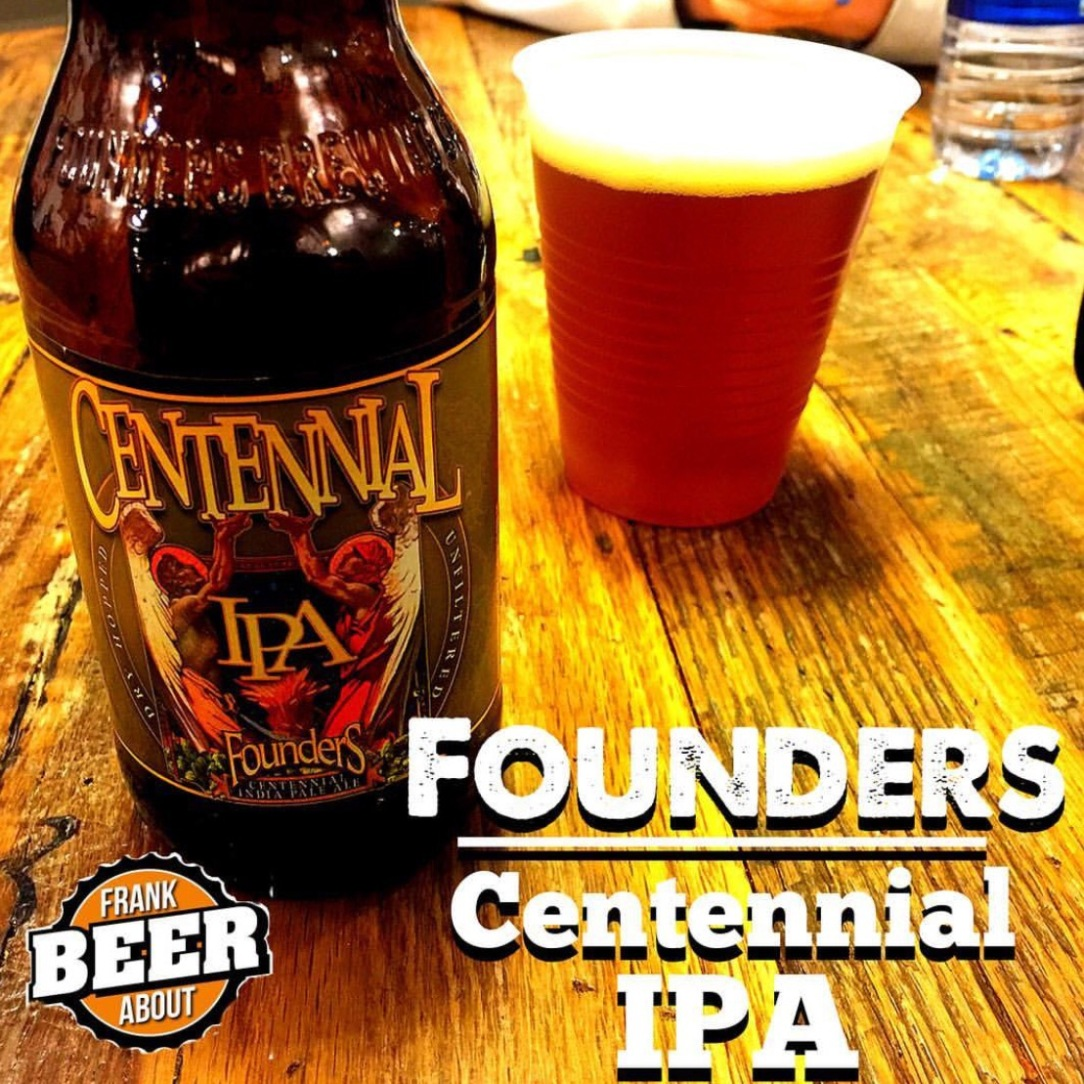 Bottle of Founders Brewing Centennial IPA craft beer