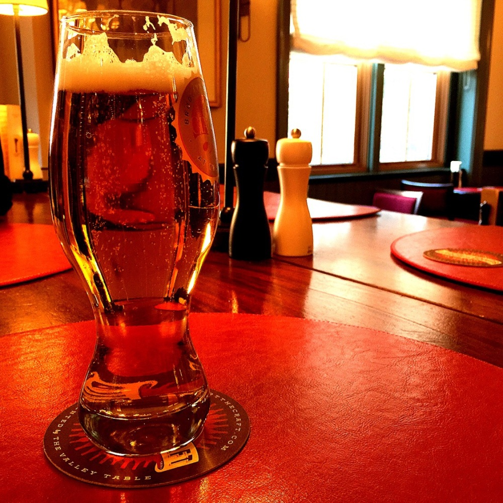Pint of IPA craft beer from the brewery at the culinary institute of America in Hyde Park New York