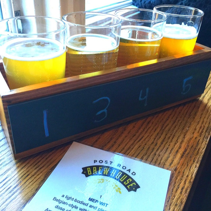 Flight of craft beer from the brewery at the culinary institute of America in Hyde Park New York