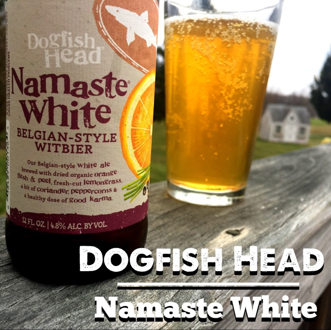 Pint bottle of Dogfish Head Namaste White Belgian craft beer